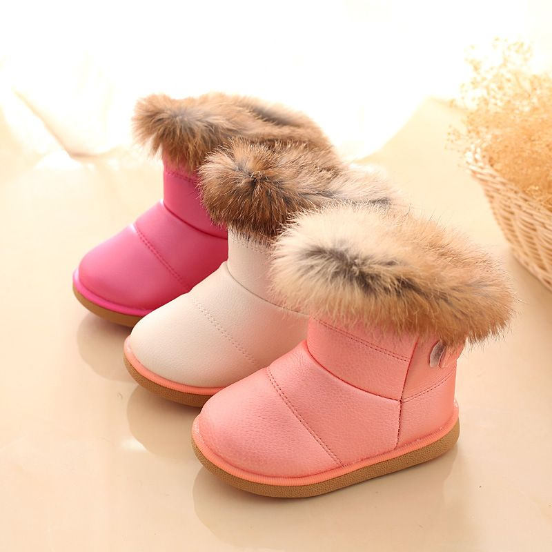 2018 Winter Fashion child girls snow boots shoes warm plush soft bottom baby girls boots leather winter kids snow boot for baby