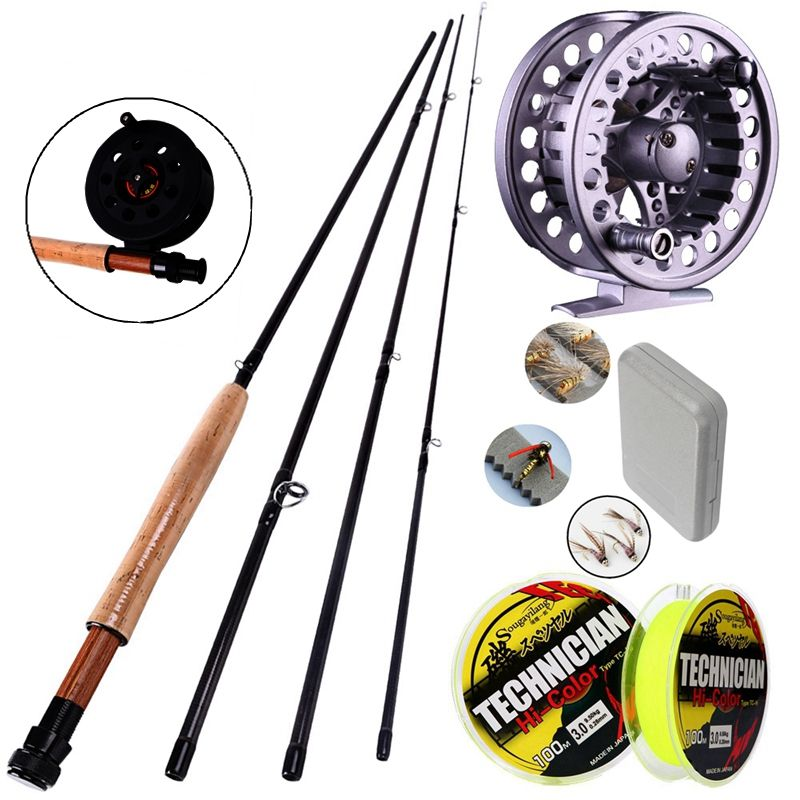 Sougayilang 4 Sections Carbon Fly Fishing Rod Set 2.7M #5/6 Fly Rod and Fishing Reel Fly Lure 100m Line Combo Kit Fishing Tackle