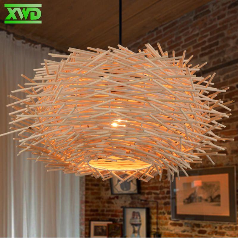 Style Rural nid d'oiseau W lampe pendante café maison/salle à manger/Foyer E27 porte-lampe 110-240 V éclairage intérieur livraison gratuite
