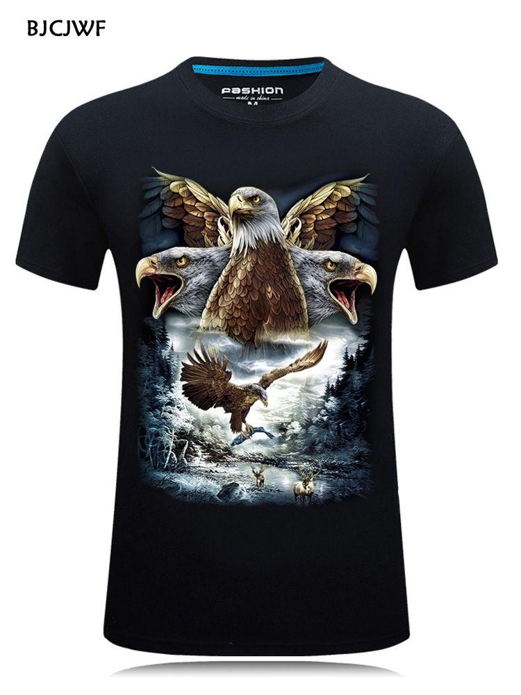 2019 été mode hommes Animal imprimé 3D T-shirt de haute qualité marque-vêtements coton à manches courtes T-shirt haut col en o S-6XL