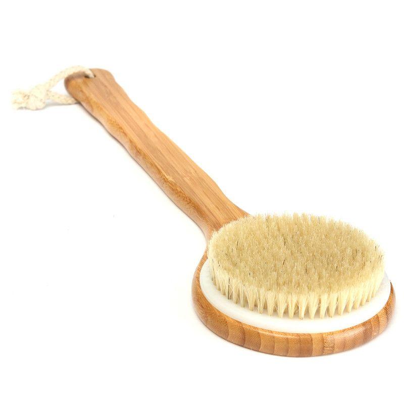 Natural Bristle Long Wooden Handle Bath Shower Body Back Brush Spa Scrubber Exfoliate Away Roughness Dirt Healthier Silkier Skin