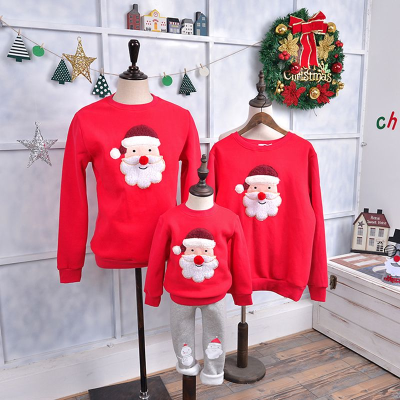 Christmas Sweater Red Nose Children Clothing Family Matching Outfits Kid T-shirt Add Wool Warm Family Clothes P205