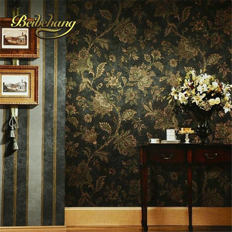 beibehang papel de parede. Rustic black and gold vintage wall paper embossed PVC wallpaper background wall wallpaper black flora