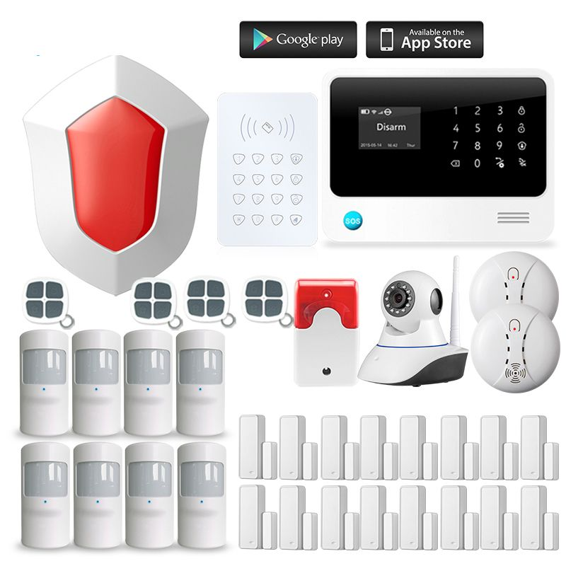 Wireless GSM Home RFID Burglar Security WIFI GSM Alarm System Sensor kit English Russian Spanish Voice