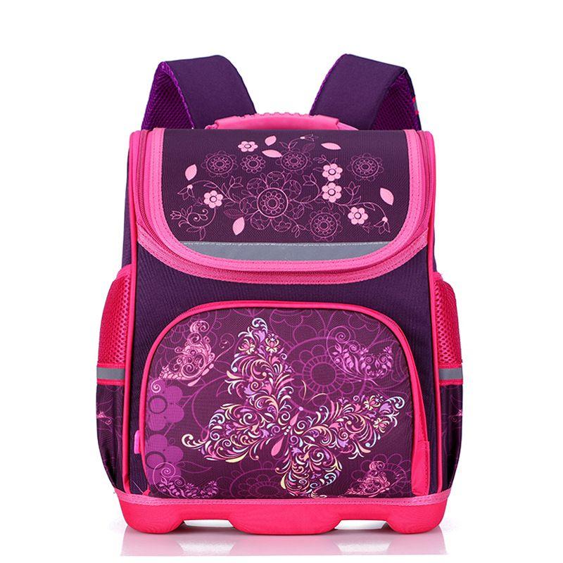 New 2018 Orthopedic Girl Backpack For School 3D Cartoon Butterfly Girls School Bags Children Primary School Grade 1-3 Kids Bag