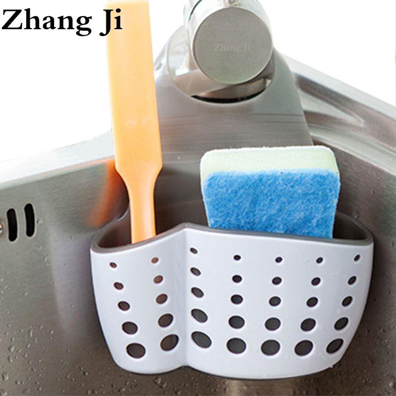 High Quality TPR Rubber Thicken Sink Storage Kitchen Bathroom Accessories Drain Basket Shelf Hanging Rack Holder ZJ079