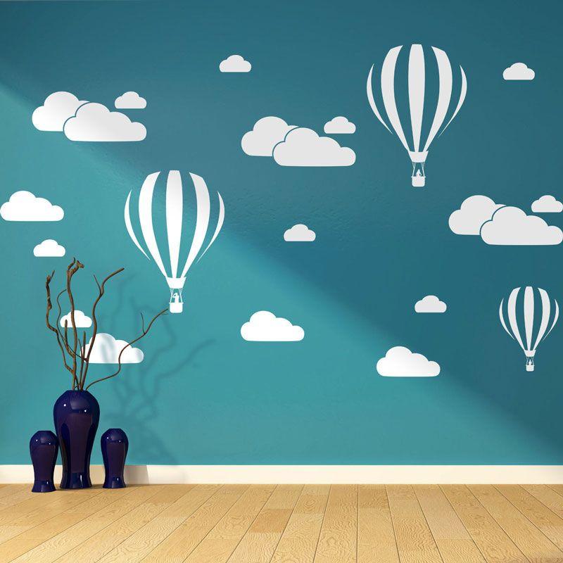 Nouveau blanc nuages ballon à Air chaud Sticker Mural pour enfants chambres Art fond Stickers muraux décor à la maison salon Stickers muraux