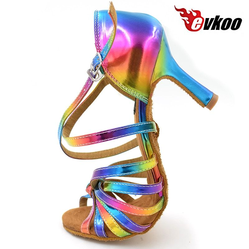 Free Shipping Latin salsa shoes lady evkoodance Rainbow Color 2017 leather 8.3cm Heel Ballroom Latin Dance Shoes women Evkoo-074
