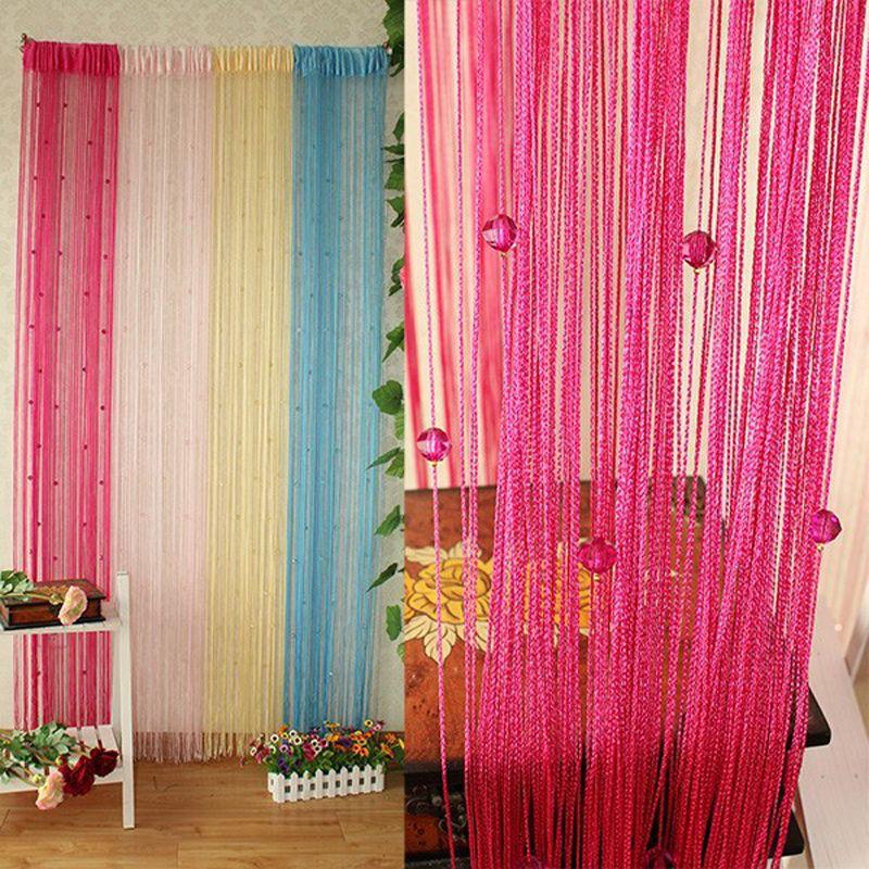 1X2M Garland Curtain Crystal Beads Curtains Silk Tassel Door Divider Sheer Valance Panel Windows Curtains Home Decoration