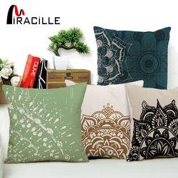 Miracille Mandala Bantal Cover Bunga Pola Katun Linen Sarung Bantal India Bohemian Bantal Cover Dekorasi Rumah