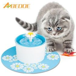 Automatique Chat Fleur Forme Fontaine Muet Pet Distributeur D'eau D'alimentation Bouteille avec Filtre À Charbon et Anti-slip Mat Potable fontaine