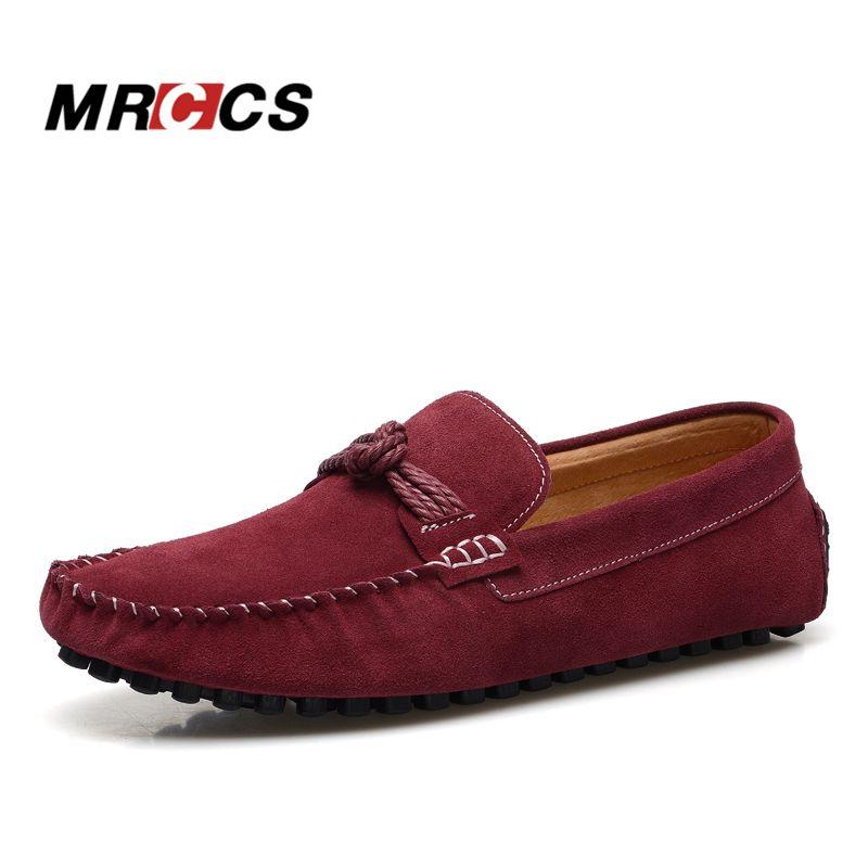MRCCS Vintage Knoten männer Müßiggänger, Wildleder männer Mokassins, designer Marke Freizeitschuh, klassische Burgundy Red Bootsschuhe