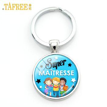 TAFREE Super Maitresse keychain meilleure maitresse du monde en verre dôme merci clé chaîne anneau enseignants titulaire de bijoux cadeaux H108