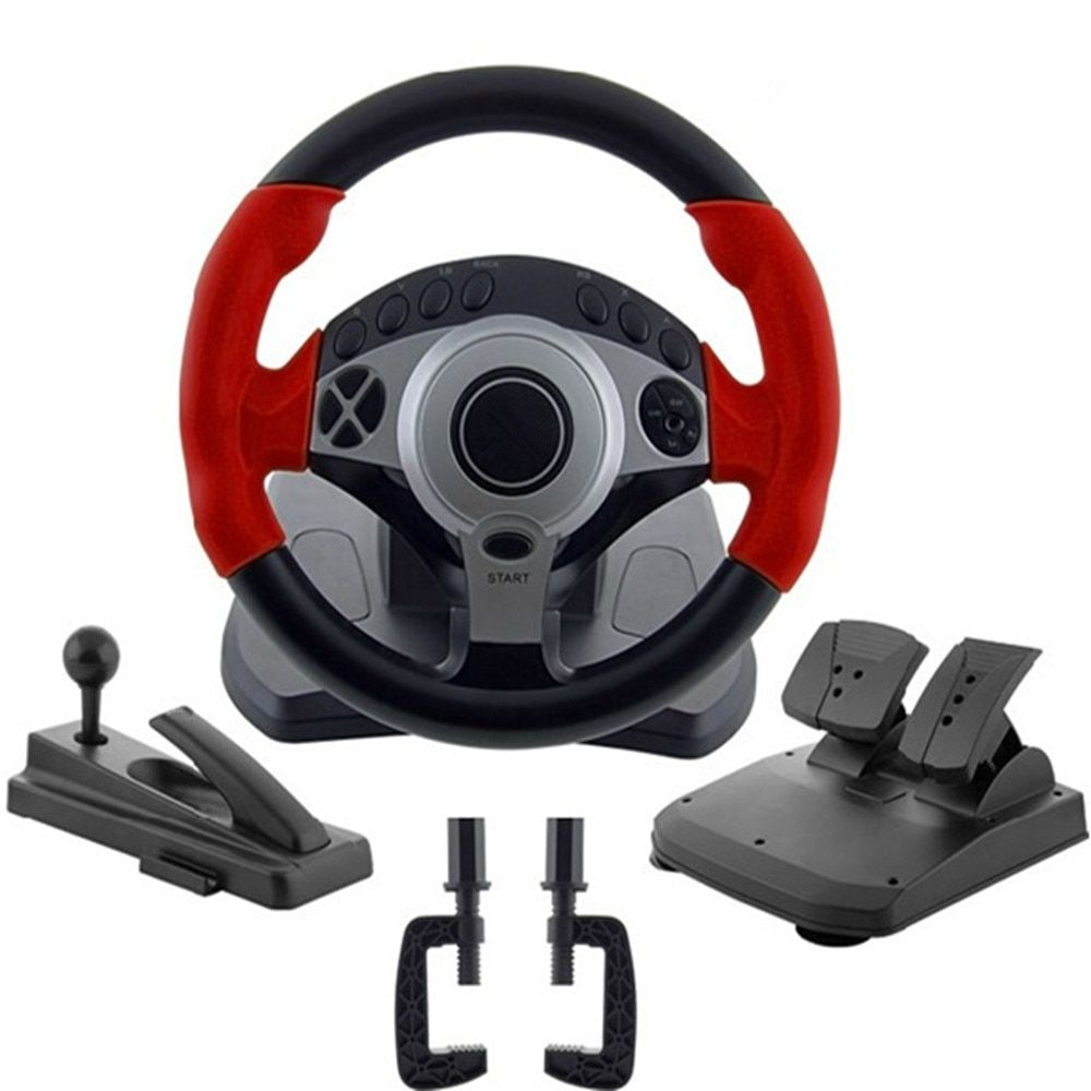 900 degrees Racing game steering wheel computer learning car driving simulator belt, throttle brake pedal, clutch pedal, stall l