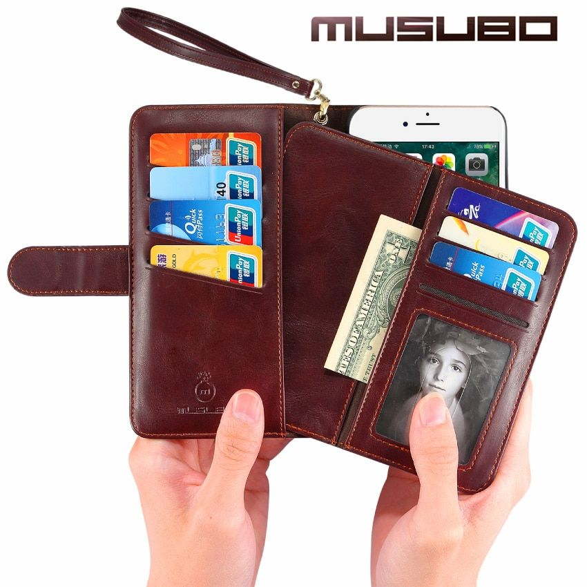 Musubo Wallet Case For iPhone 8 Plus 7 Plus Luxury Leather Back Cover for iphone 6 plus 6s phone bag Flip Case Strap