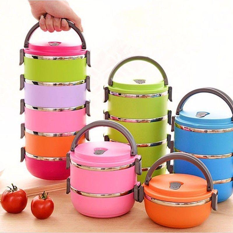 2017 Цвета круглым Bento Box Чаши Лидер продаж Термальность изоляции Нержавеющаясталь Коробки студент Коробки для обедов