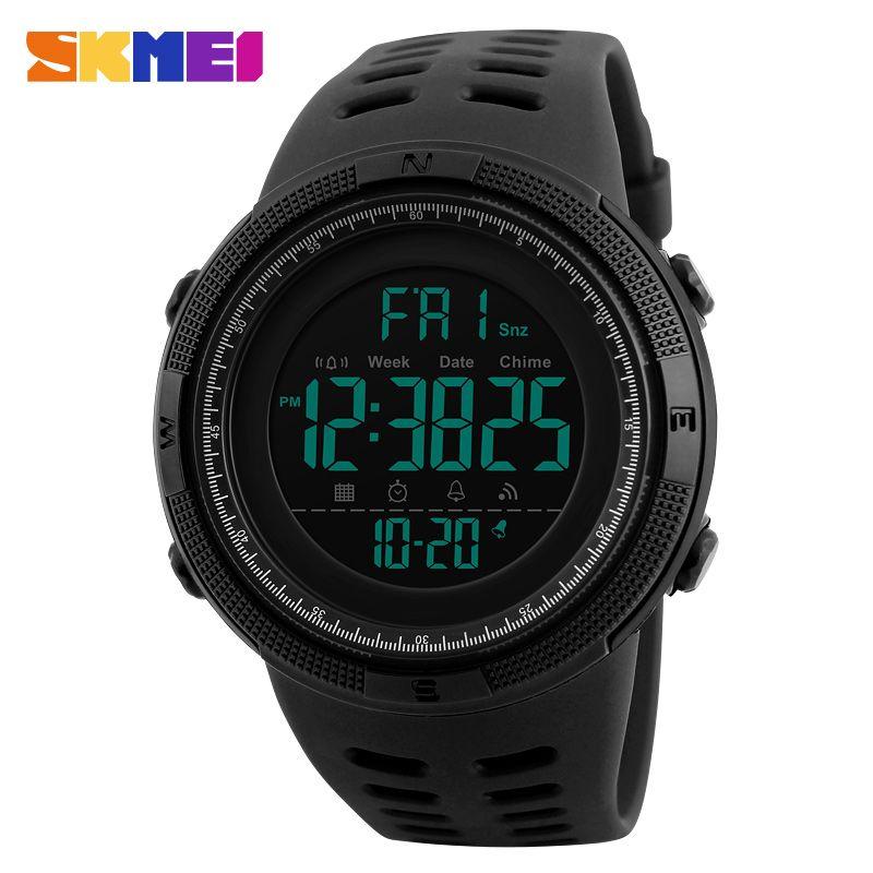 SKMEI Men <font><b>Sports</b></font> Watches Countdown Double Time Watch Alarm Chrono Digital Wristwatches 50M Waterproof Relogio Masculino 1251