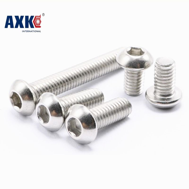 100pcs/Lot M4x20 mm M4*20 mm yuan cup Half round head 304 Stainless Steel Hex Socket Head Cap Screw Bolts
