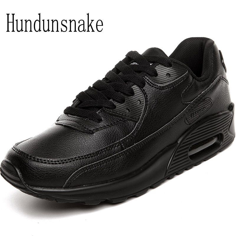 Hundunsnake Leather Sneakers Men Black Air Male Shoes Sport Adult Running Shoes For Men Krasovki 2017 Sneakers Women Gumshoes T6