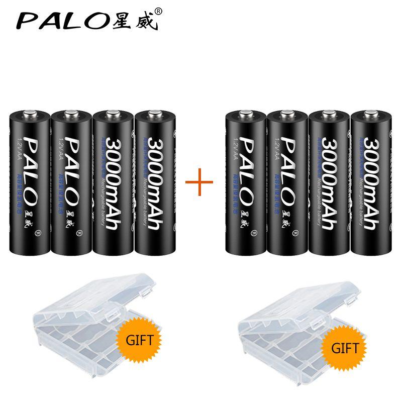 PALO Haute qualité 8 pcs 1.2 v Piles Rechargeables AA Baterias Pour Appareil Photo jouet Voitures et Livraison Gratuite PALO Marque batterie