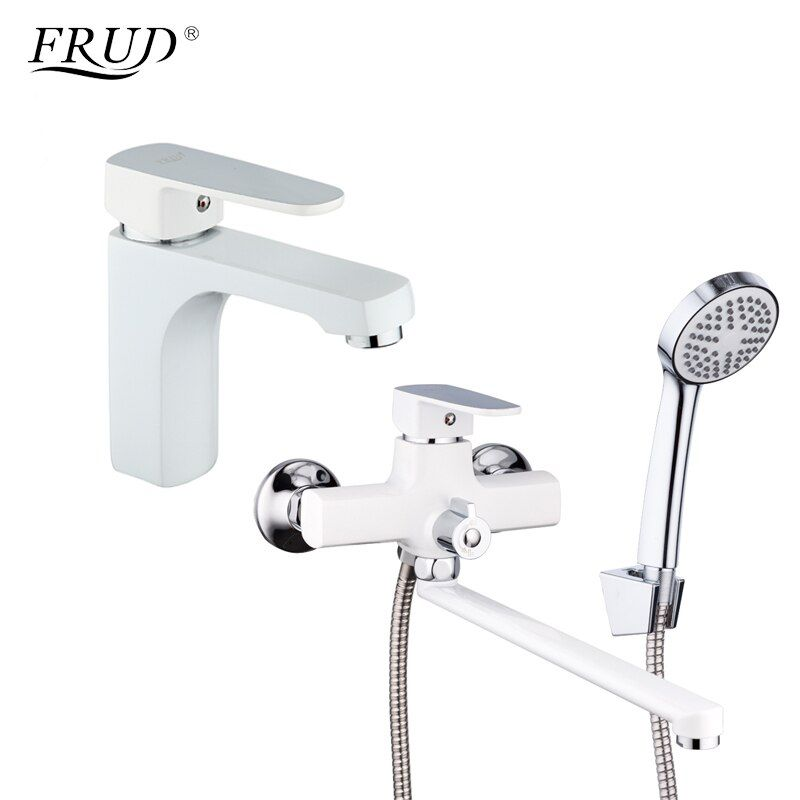 FRUD Classic 1 Set White Spary Painting Bathroom Bathtub Shower Faucet With Basin Tap Mixer Shower Head torneira R10301-2+R22301