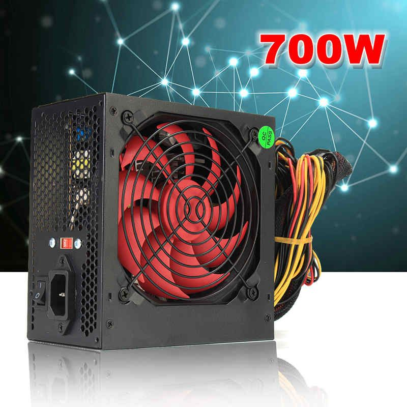 EU/AU/US MAX 700W PCI SATA ATX 12V Gaming PC Power Supply 24Pin / Molex /Sata 700Walt 12CM Fan New Computer Power Supply For BTC