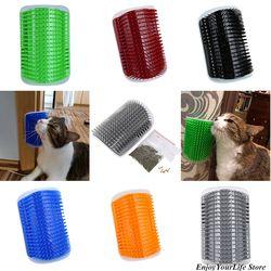 Precioso productos para mascotas gatos suministros aparato de masaje gato Groomer con Cat nip juguete para gato cepillo