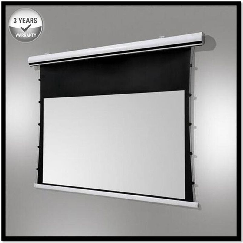 Premium Tab-Tension, 16:9 HDTV 4K/8K Tab-Tensioned Electric Drop Down projection projector screen, HD Progressive White A