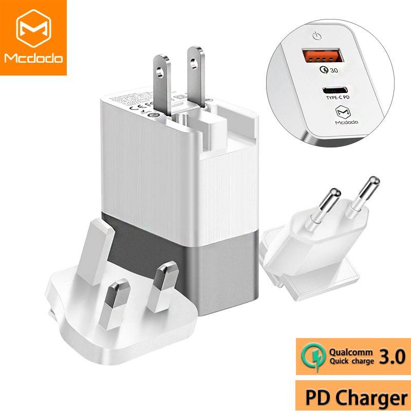 Mcdodo USB QC 3.0/USB-C PD Rapide Chargeur UE US UK Plug 3 dans 1 Triple Universel Voyage Chargeur 3A Mur Adaptateur pour iPhone Samsung