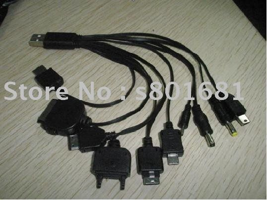 Free Shipping+tracking number!! 10pcs/lot black Portable 8in1 USB Cable Charging+Data For Cell Phone/usb power data cable