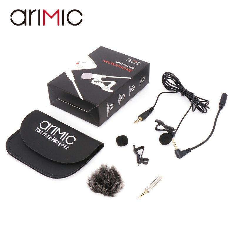 Arimic Lavalier Lapel Clip-on Omnidirectional Condenser Microphone Kit with cable <font><b>adapter</b></font> & windshield for iPhone Samsung