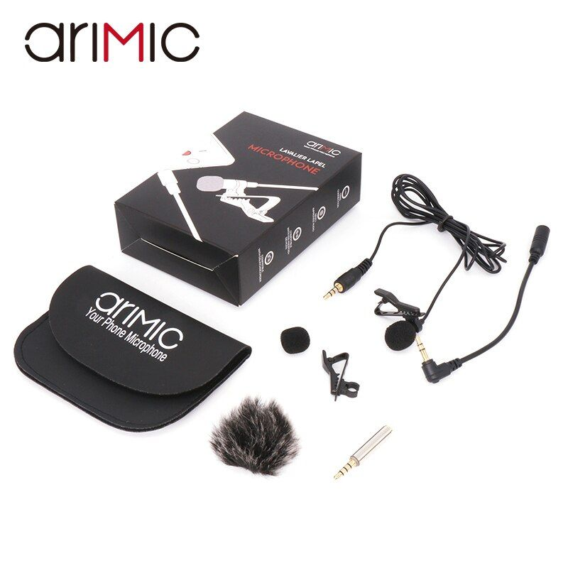 Arimic Lavalier Lapel <font><b>Clip</b></font>-on Omnidirectional Condenser Microphone Kit with cable adapter & windshield for iPhone Samsung
