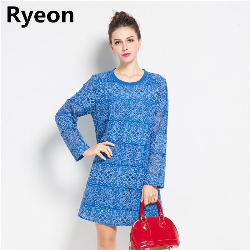 Ryeon Xl-4xl Plus Size Print Lace Summer Dresses Hollow Out A Line Plaid Women Dresses Elegance Casual Ladies Vestidos