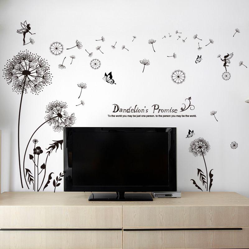 [SHIJUEHEZI] Noir Pissenlit Stickers Muraux Vinyle DIY Fleur Murale Art pour Salon Canapé Fond Chambre Décoration