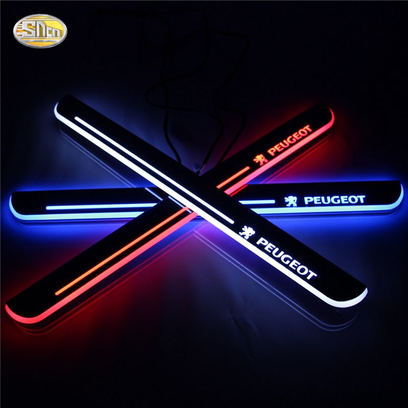 SNCN LED moving light scuff pedal for Peugeot 308 2012-2015 car acrylic led door sill welcome pedal