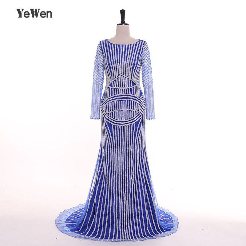 Gold Silver Pink Blue Luxury Long Sleeve Diamond Crystal Mermaid Evening Dresses 2018 Dubai Arabic Robe De Soiree YeWen