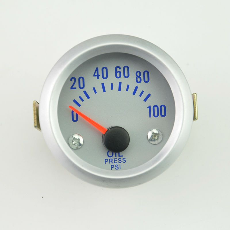 2 inch(52 mm) Auto Car white shell  oil pressure gauge 0-100 PSI auto gauge  Car Instrument Replacement free shipping