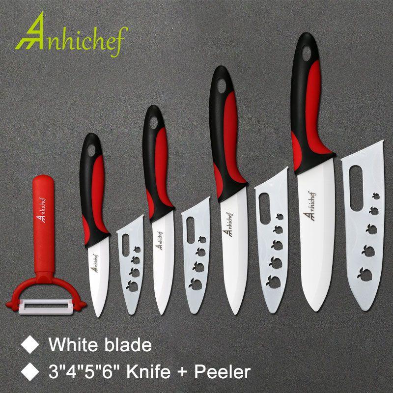 Kitchen Knife Ceramic Knife Cooking set 3 4 5 6 inch + peeler White <font><b>Blade</b></font> Paring Fruit Vege Chef Knife Kitchen Tools
