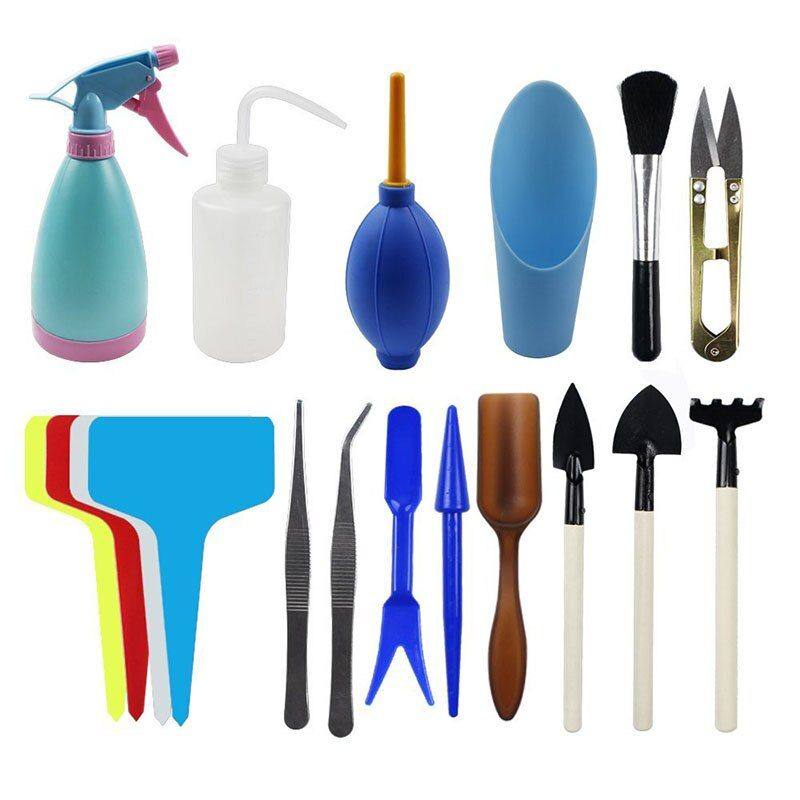 BAKHUK 3 Different Sets Succulent Potting Tools, T-shaped Floral Labels, Flower Transplant Tool, Mini Gardening Supplies