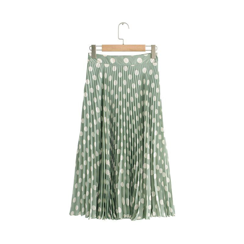 Womens White Dot Print Skirt Chiffon Fabric Rural Style Side Zipper Double Layer Summer New Women 2018 Plus Size Maxi Skirt