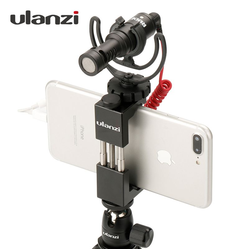 Ulanzi Phone Tripod Mount Adapter with <font><b>Cold</b></font> Shoe Handle Rig Phone Holder Mount Tripod Clip for iPhone X 8 7 Plus Samsung S8 S7