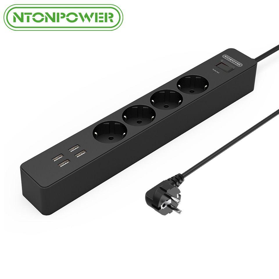 NTONPOWER NSC Smart EU Elektrische Steckdose Verlängerungskabel 4 AC Outlets Steckdosenleiste mit 4 Ports Usb-ladegerät Surge schutz