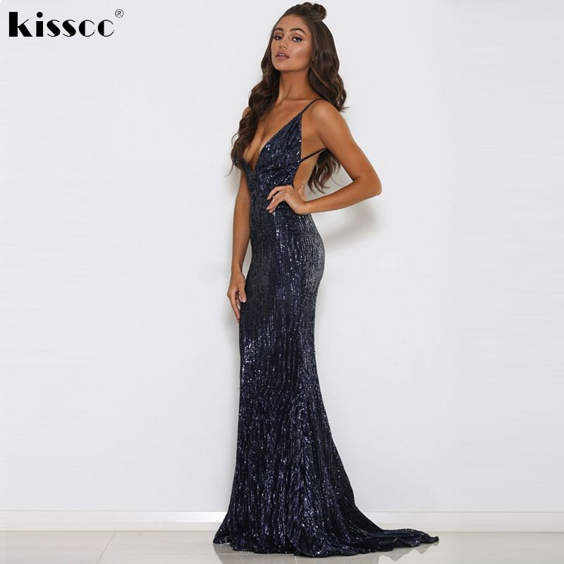 Sexy Deep V Neck Sequined Maxi Dress Stretch Sleeveless Party Dress Backless Bodycon Full Length Lining Navy Blue Black Dress