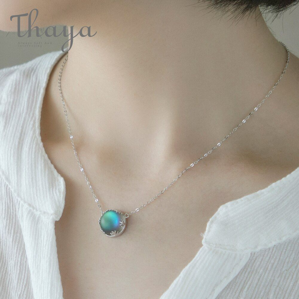 Thaya Aurora Forest Necklace Halo Crystal Gemstone S925 Silver Scale Light Pendant Necklace for Women Elegant Jewelry