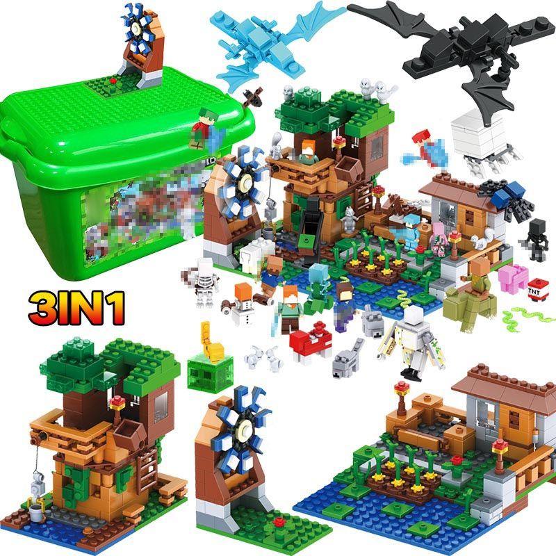 3 IN 1 My World Series Luxury Tree House Pet Village Farm Compatible legoINGLY Minecraft Windmill Building Blocks Brick Kids Toy