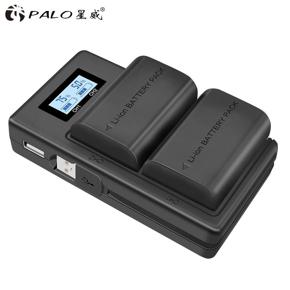 PALO 2 pièces lp-e6 batterie numérique + écran LCD livré avec USB LP E6 chargeur de batteries pour Canon EOS 5D Mark IV 7D Mark II 6D 70D
