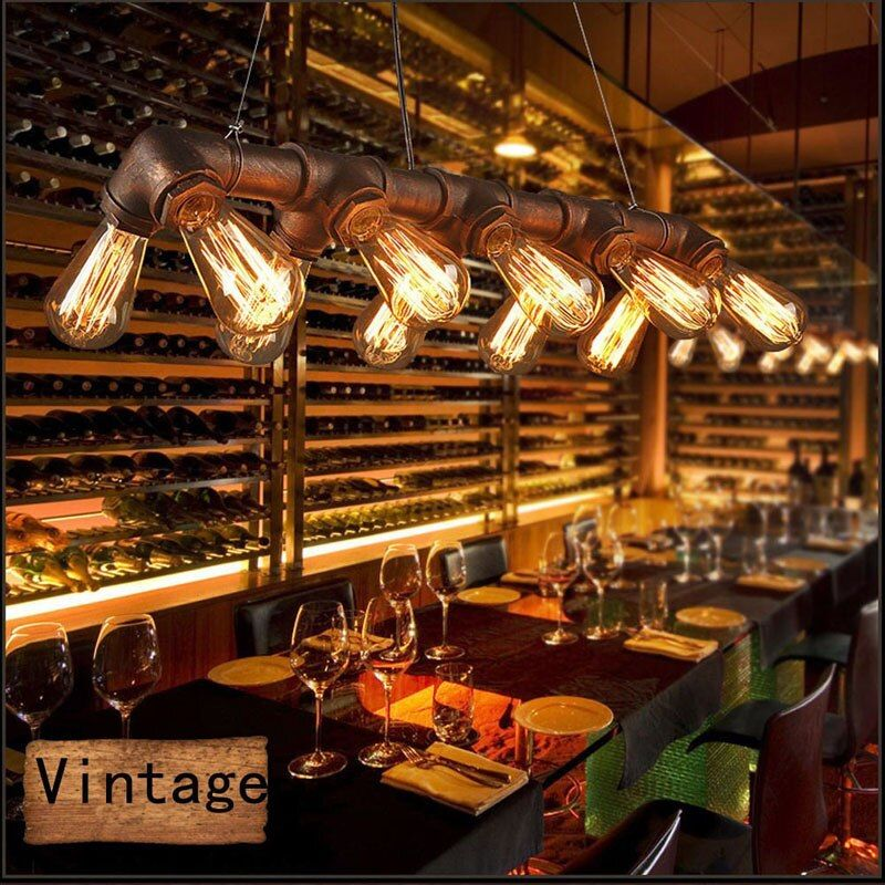 GETOP Loft US Retro Iron Pendant Lamp Creative Country Bar Restaurant Club E27 Home Lighting Industrial Steampunk Pipe Lamp