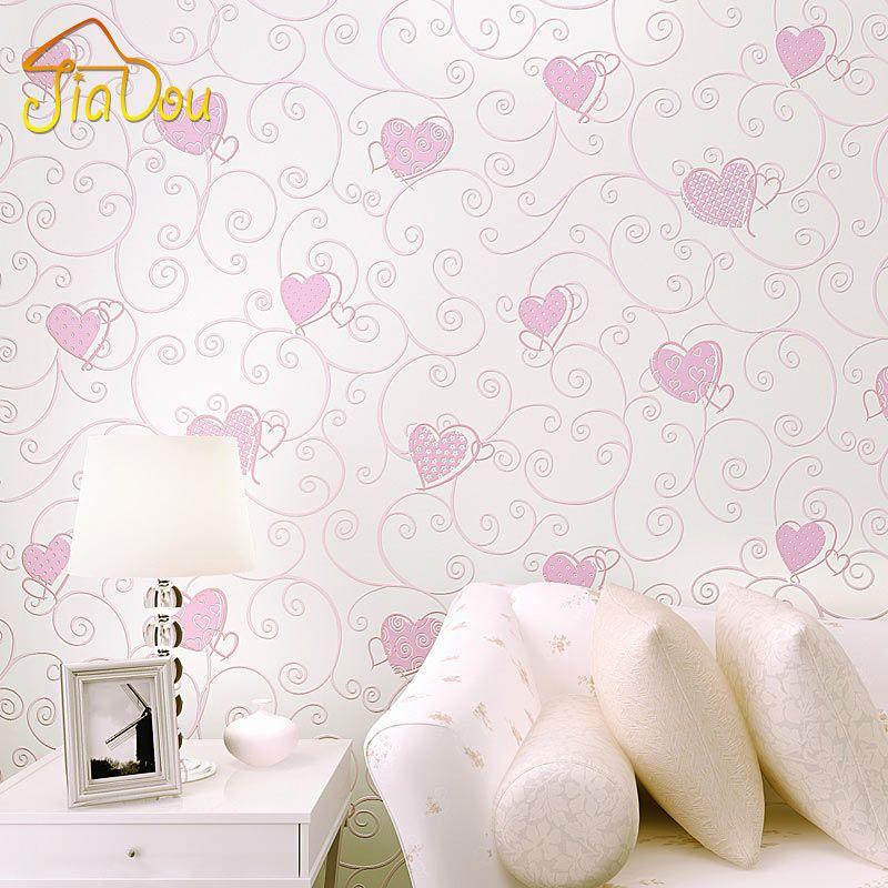 3D Rose Coeur D'amour de Bande Dessinée Princesse Fille Chambre Fond D'écran Rouleau 3D Relief Flocage Non Tissé Enfants Revêtement Mural Papier