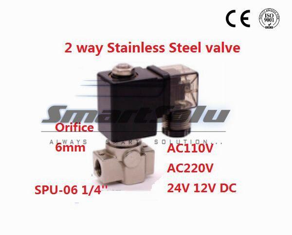 Freies verschiffen 2 way SS304 wassermagnetventil normalerweise in der nähe Hafen G1/4 12 V DC Öffnung 6mm SPU-06 null druck starten stecker typ