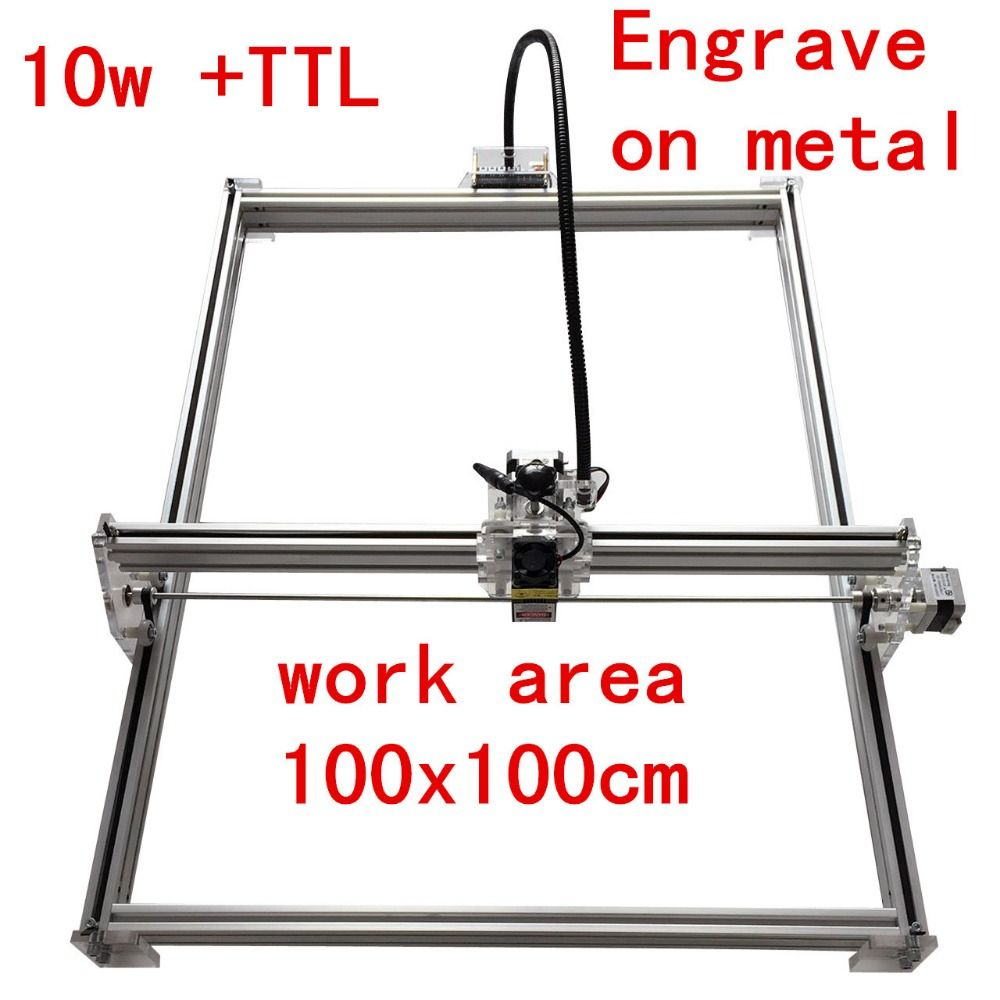 10000mw Mini desktop DIY Laser engraving engraver cutting machine mark on metal 100*100cm big worke area laser cutter 10w ,15w